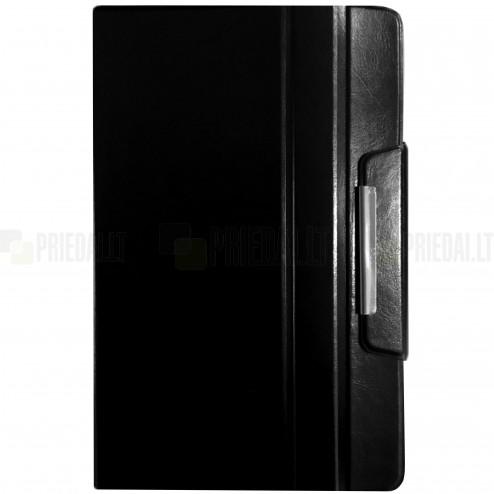 Universalus atverčiamas odinis juodas dėklas kompiuterinėms 10 colių planšetėms