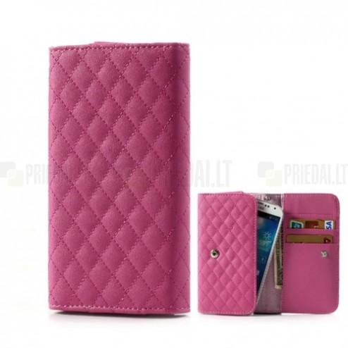 Universali rožinė odinė telefono piniginė - dėklas (L dydis)