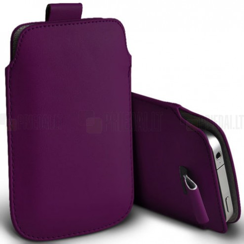 Universali violetinė odinė įmautė - dėklas (L dydis)