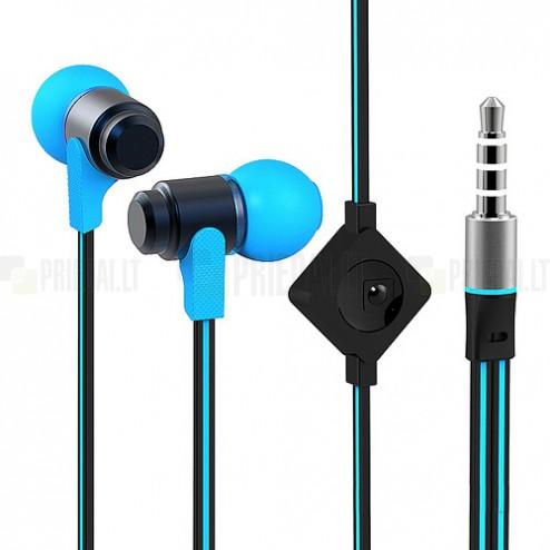 """""""Wallytech"""" mėlynos įkišamos į ausis ausinės (juodos)"""