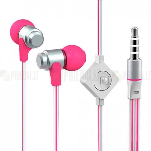 """""""Wallytech"""" rožinės įkišamos į ausis ausinės (baltos)"""