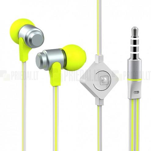 """""""Wallytech"""" geltonos įkišamos į ausis ausinės (baltos)"""