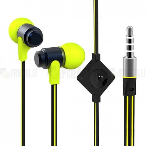 """""""Wallytech"""" geltonos įkišamos į ausis ausinės"""
