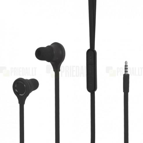 """""""Wallytech"""" juodos įkišamos į ausis ausinės su valdymo pulteliu ir mikrofonu"""
