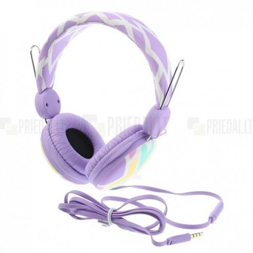 """""""Wallytech"""" violetinės ausinės su lankeliu (su rombais)"""
