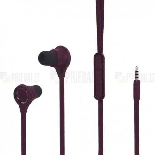 """""""Wallytech"""" violetinės įkišamos į ausis ausinės su valdymo pulteliu ir mikrofonu"""