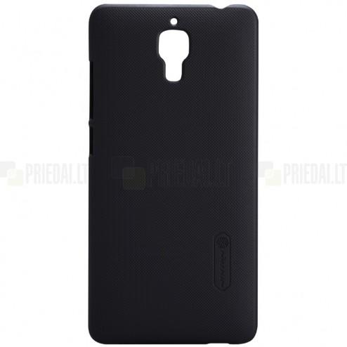 Xiaomi Mi 4 Nillkin Frosted Shield juodas plastikinis dėklas + apsauginė ekrano plėvelė