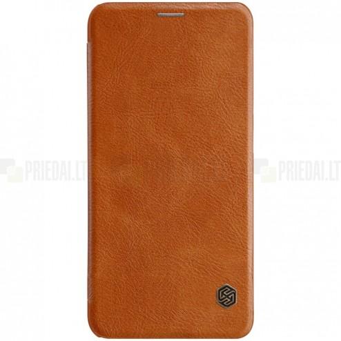 """Prabangus """"Nillkin"""" Qin serijos rudas odinis atverčiamas Xiaomi Mi 8 dėklas"""