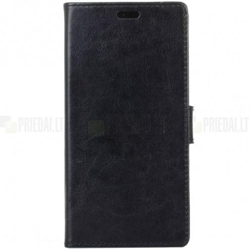 Xiaomi Redmi 4X  atverčiamas juodas odinis dėklas, knygutė - piniginė