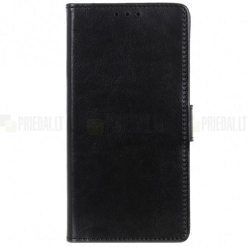 Xiaomi Redmi 7A atverčiamas juodas odinis dėklas, knygutė - piniginė
