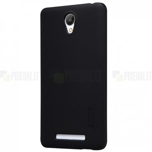 Xiaomi Redmi Note 2 Nillkin Frosted Shield juodas plastikinis dėklas + apsauginė ekrano plėvelė