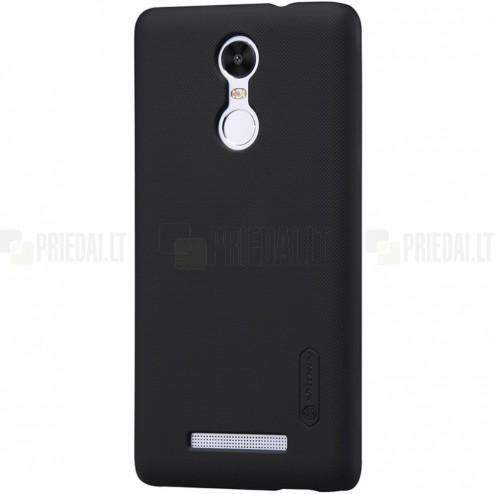 Xiaomi Redmi Note 3 Nillkin Frosted Shield juodas plastikinis dėklas + apsauginė ekrano plėvelė