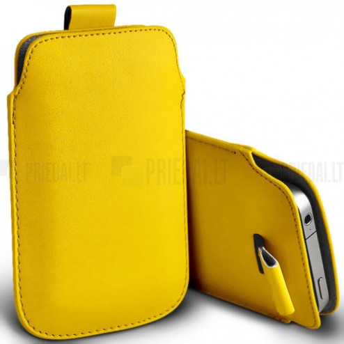 Universali geltona odinė įmautė - dėklas (L dydis)