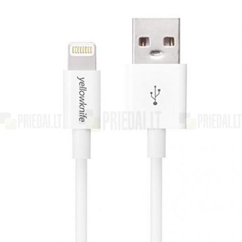 YellowKnife Lightning USB baltas laidas skirtas iPhone 6, 6 Plus, 5, 5S, iPad Air, iPad mini, iPod (MFi sertifikatas)