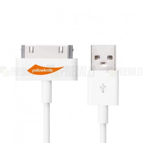 YellowKnife USB baltas laidas skirtas iPhone 4, 4S, iPad, iPad mini, iPod (MFi sertifikatas)