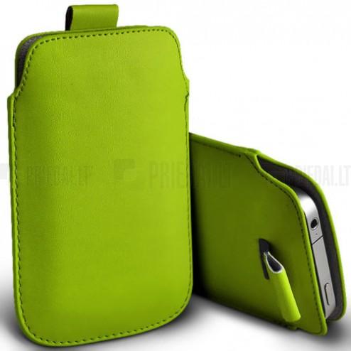 Universali šviesiai žalia odinė įmautė - dėklas (L dydis)
