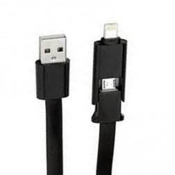 """Forever"" 2 IN 1 USB laidas (lightning/micro USB) - juodas (1 m.)"