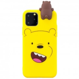 """""""Squezy"""" Bear kieto silikono (TPU) dėklas - geltonas (iPhone 11 Pro)"""