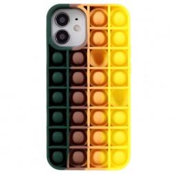 """""""Popit"""" Bubble minkšto silikono (TPU) dėklas - tamsiai žalias (iPhone 12 Mini)"""