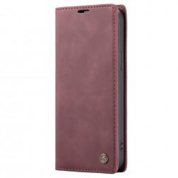 """""""CaseMe"""" Retro solidus atverčiamas dėklas - bordo (iPhone 12 Pro Max)"""