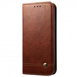"""""""Deluxe"""" atverčiamas dėklas - tamsiai rudas (iPhone 12 Pro Max)"""