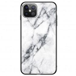 """""""Marble"""" kieto silikono (TPU) dėklas - baltas (iPhone 12 Pro Max)"""