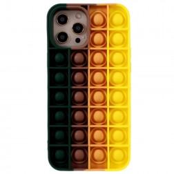 """""""Popit"""" Bubble minkšto silikono (TPU) dėklas - tamsiai žalias (iPhone 12 Pro Max)"""