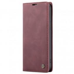 """""""CaseMe"""" Retro solidus atverčiamas dėklas - bordo (iPhone 12 / 12 Pro)"""