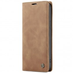 """""""CaseMe"""" Retro solidus atverčiamas dėklas - šviesiai rudas (iPhone 12 / 12 Pro)"""
