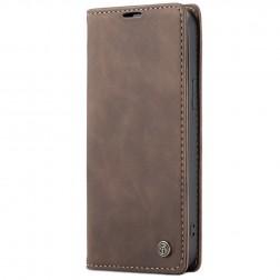 """""""CaseMe"""" Retro solidus atverčiamas dėklas - tamsiai rudas (iPhone 12 / 12 Pro)"""