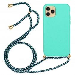 """""""Strap"""" kieto silikono (TPU) dėklas - mėtinis (iPhone 12 / 12 Pro)"""
