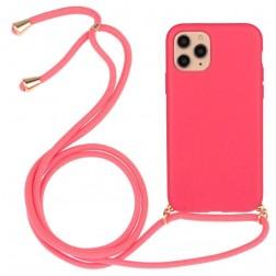 """""""Strap"""" kieto silikono (TPU) dėklas - rožinis (iPhone 12 / 12 Pro)"""
