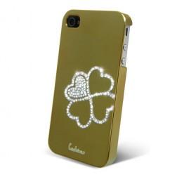 """""""Leshine"""" dėklas - širdelės, auksinis (iPhone 4 / 4S)"""