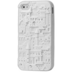 Retro raštuotas 3D, kieto silikono, dėklas - baltas (iPhone 4 / 4S)