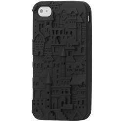 Retro raštuotas 3D, kieto silikono, dėklas - juodas (iPhone 4 / 4S)