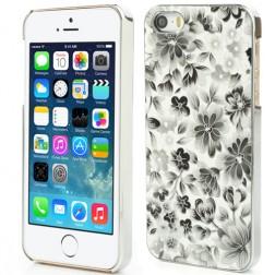 Gėlėtas dėklas - juodas (iPhone 5 / 5S / SE)