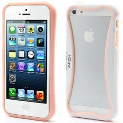 """i-Glow"" rėmelis (bamperis) - baltas / rožinis (iPhone 5 / 5S / SE)"
