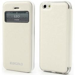 """""""Kingpad"""" atverčiamas """"S-View"""" stiliaus dėklas - smėlio spalvos (iPhone 5 / 5S / SE)"""