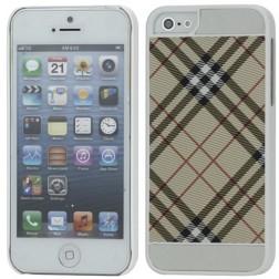 """""""Burberry"""" stiliaus dėklas - šviesiai rudas / baltas (iPhone 5 / 5S / SE)"""