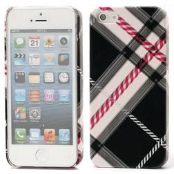 """""""Burberry"""" stiliaus dėklas - juodas (iPhone 5 / 5S / SE)"""
