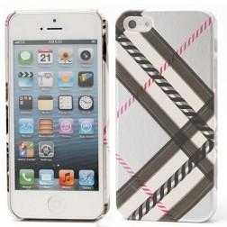 """""""Burberry"""" stiliaus dėklas - sidabrinis (iPhone 5 / 5S / SE)"""