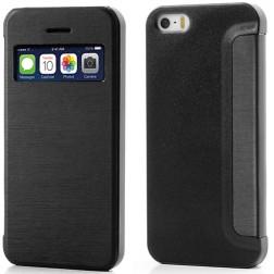 """Atverčiamas """"S-View"""" stiliaus dėklas - juodas (iPhone 5 / 5S / SE)"""