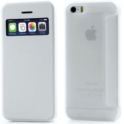 """Atverčiamas """"S-View"""" stiliaus dėklas - baltas (iPhone 5 / 5S / SE)"""