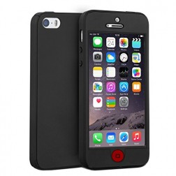 Pilnai dengiantis TPU dėklas - juodas (iPhone 5 / 5S / SE)