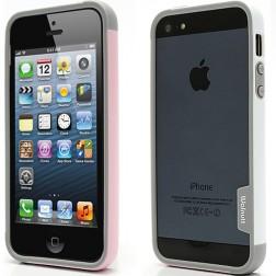 """""""Walnutt"""" Trio rėmelis (bamperis) - baltas / rožinis (iPhone 5 / 5S / SE)"""