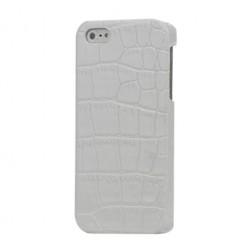 Dėklas su krokodilo odos imitacija - baltas (iPhone 5 / 5S / SE)