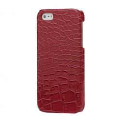 Dėklas su krokodilo odos imitacija - raudonas (iPhone 5 / 5S / SE)