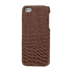 Dėklas su krokodilo odos imitacija - rudas (iPhone 5 / 5S / SE)