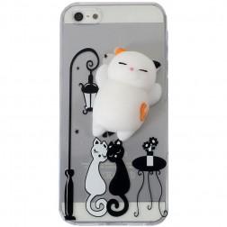 """""""Squezy"""" Cat kieto silikono (TPU) dėklas - skaidrus (iPhone 5 / 5s / SE)"""