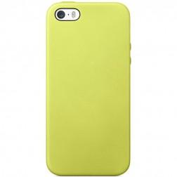 Kieto silikono (TPU) dėklas - geltonas (iPhone 5 / 5S / SE)